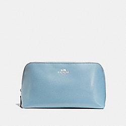 COACH F57856 - COSMETIC CASE 22 IN CROSSGRAIN LEATHER SILVER/CORNFLOWER