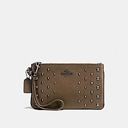 COACH F57862 Small Wristlet In Polished Pebble Leather With Ombre Rivets DARK GUNMETAL/FATIGUE