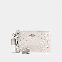 COACH F57862 Small Wristlet In Polished Pebble Leather With Ombre Rivets SILVER/CHALK