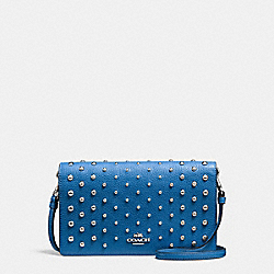 FOLDOVER CROSSBODY IN POLISHED PEBBLE LEATHER WITH OMBRE RIVETS - f57863 - SILVER/LAPIS