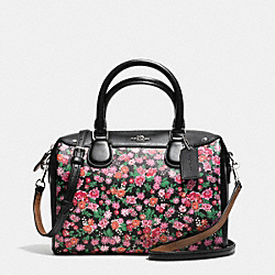COACH F57882 Mini Bennett Satchel In Posey Cluster Floral Print Coated Canvas SILVER/PINK MULTI