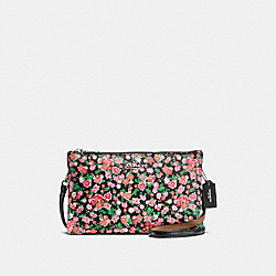 COACH F57883 Lyla Crossbody In Posey Cluster Floral Print Coated Canvas SILVER/PINK MULTI