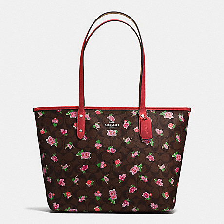 COACH f57888 CITY ZIP TOTE IN FLORAL LOGO PRINT COATED CANVAS SILVER/BROWN RED MULTI