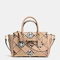 COACH F57892 Blake Carryall 25 In Snake Embossed Patchwork Leather IMITATION GOLD/BEECHWOOD MULTI