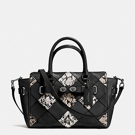 COACH f57892 BLAKE CARRYALL 25 IN SNAKE EMBOSSED PATCHWORK LEATHER ANTIQUE NICKEL/BLACK MULTI