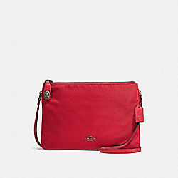 COACH F57899 - NYLON CROSSBODY ANTIQUE SILVER/TRUE RED