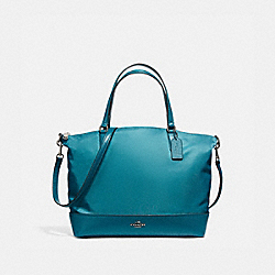 COACH NYLON SATCHEL - BLACK ANTIQUE NICKEL/DARK TEAL - F57902