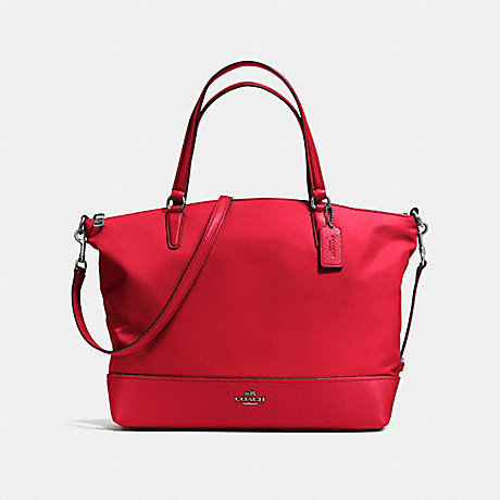 COACH f57902 NYLON SATCHEL ANTIQUE SILVER/TRUE RED