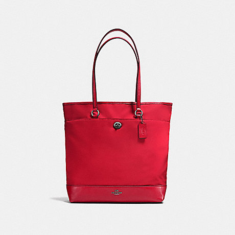 COACH f57903 NYLON TOTE ANTIQUE SILVER/TRUE RED
