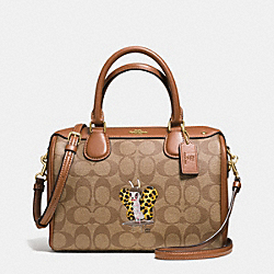 BASEMAN X COACH BUTCH MINI BENNETT SATCHEL IN SIGNATURE COATED CANVAS - f57909 - IMITATION GOLD/KHAKI/SADDLE
