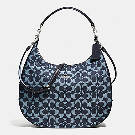 COACH f57912 HARLEY HOBO IN SIGNATURE DENIM AND LEATHER SILVER/LIGHT DENIM
