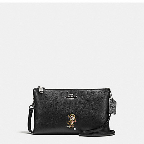 COACH f57915 BASEMAN X COACH BUSTER LYLA CROSSBODY IN PEBBLE LEATHER ANTIQUE NICKEL/BLACK
