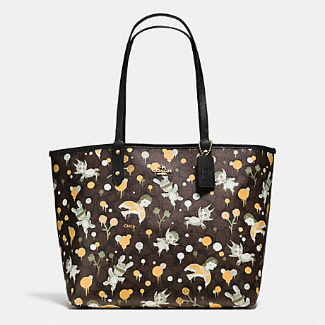 COACH f57917 BASEMAN X COACH SECRET ORDER REVERISBLE TOTE IN SIGNATURE COATED CANVAS IMITATION GOLD/BROWN YELLOW MULTI