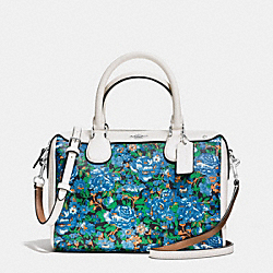 COACH F57921 Mini Bennett Satchel In Rose Meadow Floral Print Coated Canvas SILVER/BLUE MULTI