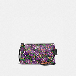COACH LYLA CROSSBODY IN ROSE MEADOW FLORAL PRINT COATED CANVAS - SILVER/VIOLET MULTI - F57922
