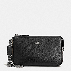 COACH F57932 Large Wristlet 19 With Snake Embossed Leather Trim ANTIQUE NICKEL/BLACK MULTI