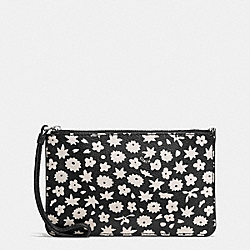 COACH F57936 Small Wristlet In Graphic Floral Print Coated Canvas SILVER/BLACK MULTI
