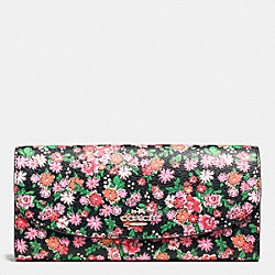 COACH F57962 Slim Envelope Wallet In Posey Cluster Floral Print Coated Canvas SILVER/PINK MULTI