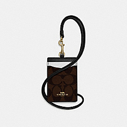 COACH F57964 Id Lanyard In Colorblock Signature Canvas BROWN/NEUTRAL MULTI/LIGHT GOLD