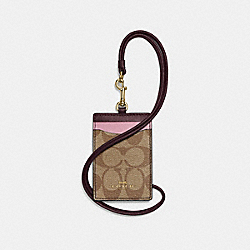 COACH F57964 Lanyard Id Case In Colorblock Signature IMITATION GOLD/KHAKI OXBLOOD MULTI