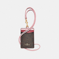 ID LANYARD IN COLORBLOCK SIGNATURE CANVAS - f57964 - BROWN/BLUSH TERRACOTTA/LIGHT GOLD