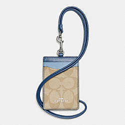COACH F57964 - LANYARD ID CASE IN COLORBLOCK SIGNATURE SILVER/KHAKI/BLUE MULTI