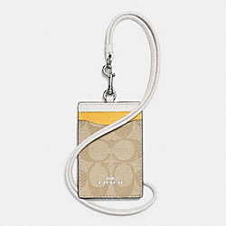 COACH F57964 Id Lanyard In Colorblock Signature Coated Canvas SILVER/LT KHAKI