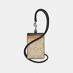 COACH F57964 - ID LANYARD IN COLORBLOCK SIGNATURE CANVAS SILVER/LIGHT KHAKI MULTI