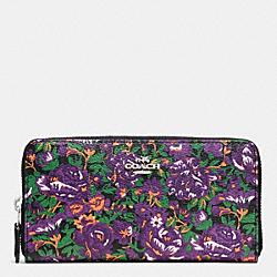 COACH F57966 Accordion Zip Wallet In Rose Meadow Floral Print SILVER/VIOLET MULTI