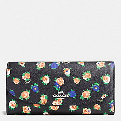 COACH F57979 Slim Envelope Wallet In Tea Rose Floral Print Coated Canvas SILVER/BLACK MULTI