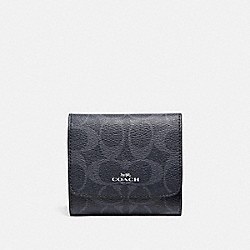 SMALL WALLET IN SIGNATURE CANVAS - F57982 - DENIM MIDNIGHT/SILVER