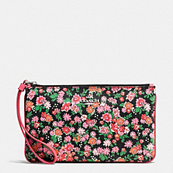 COACH F57983 Large Wristlet In Posey Cluster Floral Print SILVER/PINK MULTI