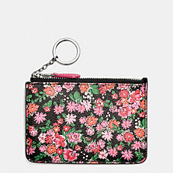 COACH F57984 Key Pouch With Gusset In Posey Cluster Floral Print Coated Canvas SILVER/PINK MULTI