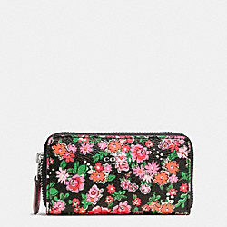 SMALL DOUBLE ZIP COIN CASE IN POSEY CLUSTER FLORAL PRINT - f57985 - SILVER/PINK MULTI