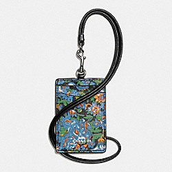 COACH F57990 Lanyard Id In Rose Meadow Floral Print SILVER/BLUE MULTI