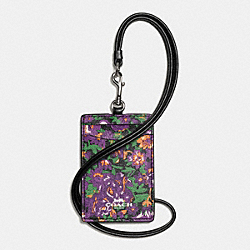 COACH F57990 Lanyard Id In Rose Meadow Floral Print SILVER/VIOLET MULTI