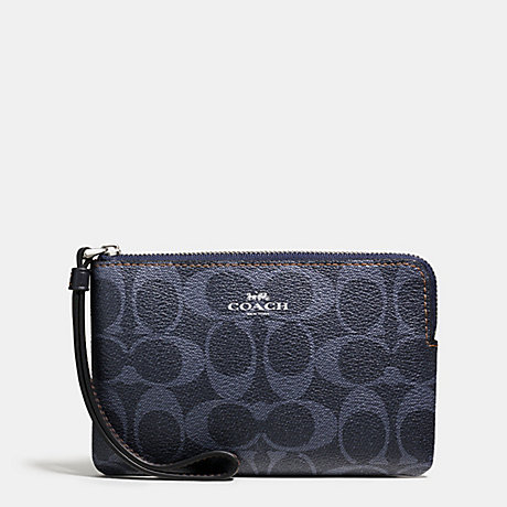 COACH f57996 CORNER ZIP WRISTLET IN DENIM SIGNATURE SILVER/DENIM