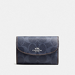 COACH F57997 Key Case In Signature Canvas DENIM/SILVER