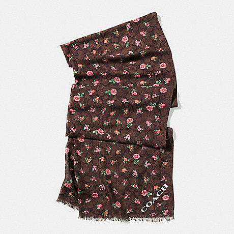 COACH f58006 FLORAL PRINTED SIGNATURE C OBLONG SCARF BROWN RED MULTICOLOR
