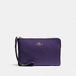COACH F58032 - CORNER ZIP WRISTLET DARK PURPLE/IMITATION GOLD