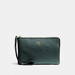 COACH F58032 Corner Zip Wristlet IM/EVERGREEN