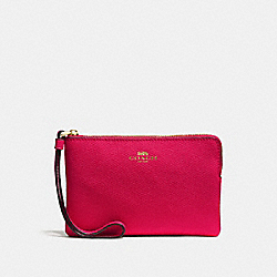 COACH F58032 Corner Zip Wristlet In Crossgrain Leather IMITATION GOLD/BRIGHT PINK