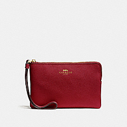 COACH F58032 Corner Zip Wristlet CHERRY /LIGHT GOLD