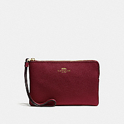 COACH F58032 Corner Zip Wristlet In Crossgrain Leather LIGHT GOLD/CRIMSON
