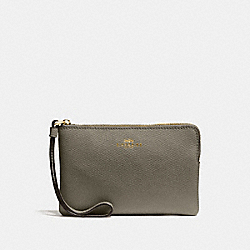 COACH F58032 Corner Zip Wristlet MILITARY GREEN/GOLD