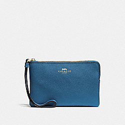 COACH F58032 Corner Zip Wristlet INK BLUE/LIGHT GOLD