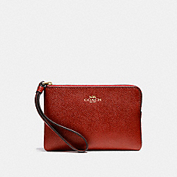COACH F58032 Corner Zip Wristlet LIGHT GOLD/DARK RED