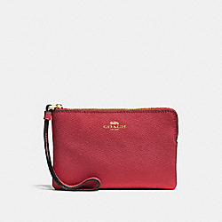 COACH F58032 Corner Zip Wristlet WASHED RED/GOLD