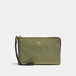 COACH F58032 Corner Zip Wristlet LIGHT CLOVER/IMITATION GOLD