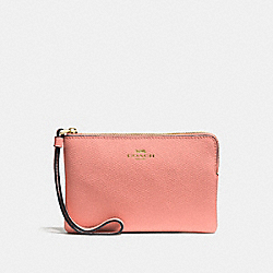 COACH F58032 Corner Zip Wristlet LIGHT CORAL/GOLD
